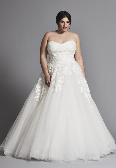 Strapless Applique Ball Gown Wedding Dress With Tulle Skirt by Tony Ward