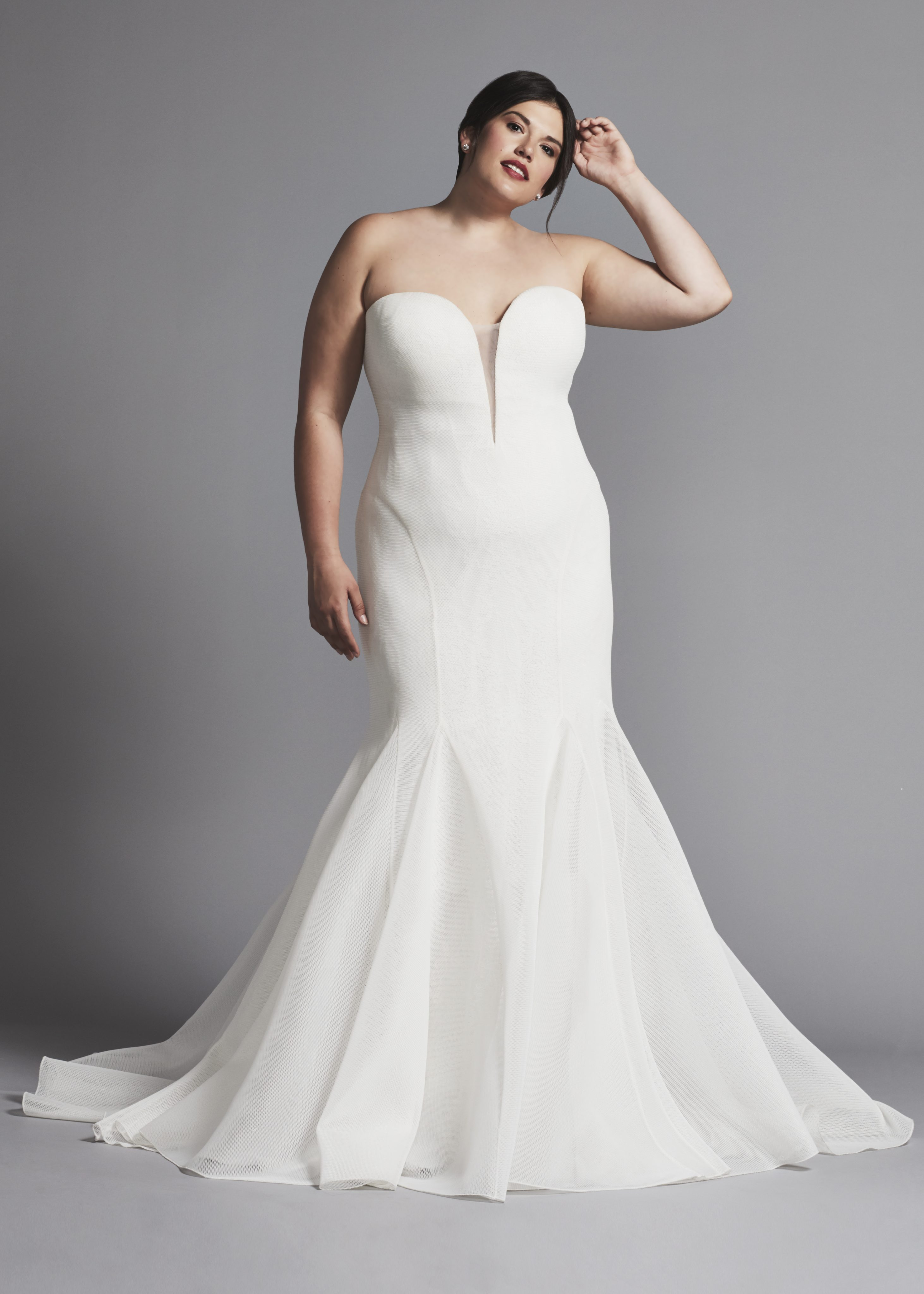 Strapless Fit And Flare Wedding Dress With Illusion V Neck