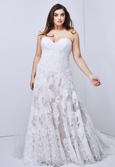 Strapless Lace Detailed A-line Wedding Dress by Watters