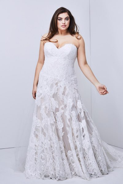 Strapless Lace Detailed A-line Wedding Dress by Watters - Image 1