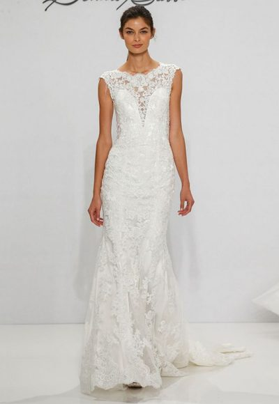 Illusion Depp Sweetheart Lace Sheath Wedding Dress by Dennis Basso