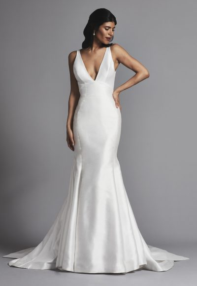 Sleeveless V-neck Fit And Flare Wedding Dress by Pnina Tornai