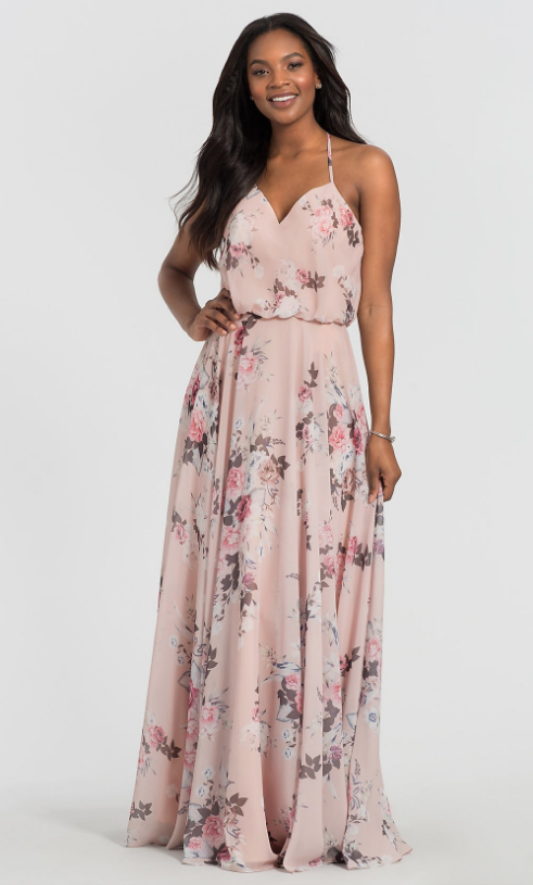 FLORAL-PRINT CHIFFON BRIDESMAID DRESS BY KLEINFELD BRIDAL PARTY