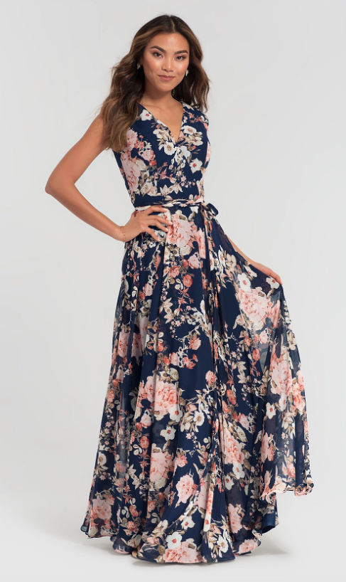 FLORAL-PRINT KLEINFELD LONG CHIFFON BRIDESMAID DRESS Kleinfeld Bridal Party