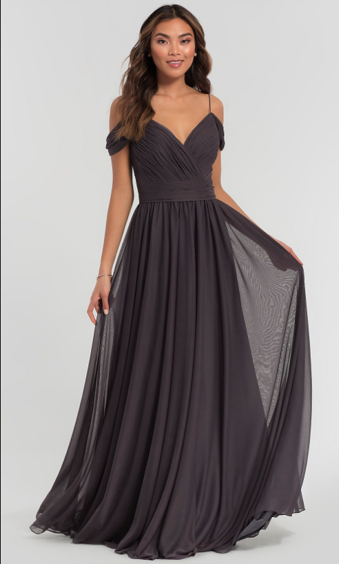 KLEINFELD COLD-SHOULDER LONG BRIDESMAID DRESS Kleinfeld Bridal Party