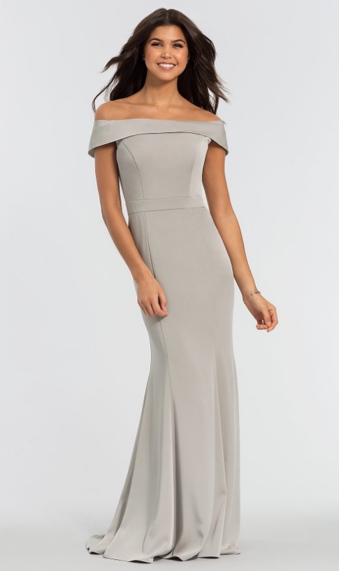 OFF-THE-SHOULDER SATIN KLEINFELD BRIDESMAID DRESS Kleinfeld Bridal Party