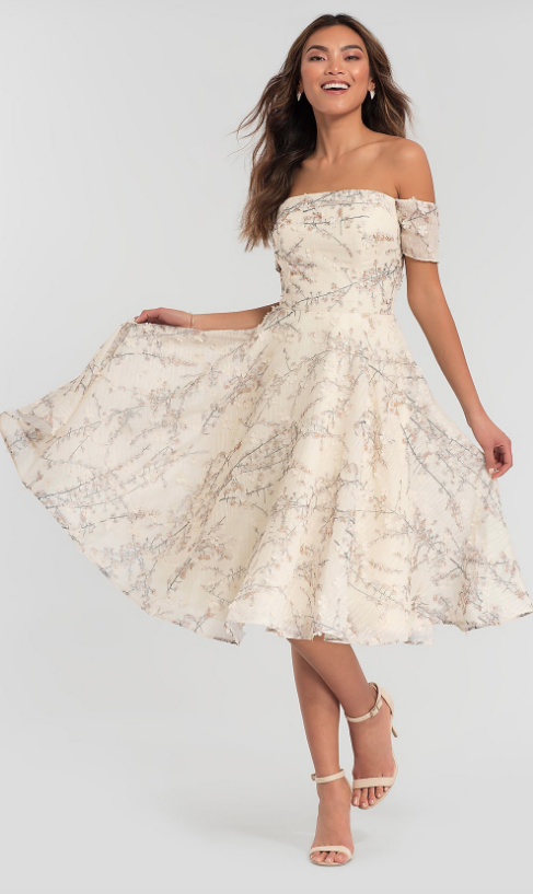 FLORAL-PRINT TEA-LENGTH KLEINFELD BRIDESMAID DRESS Kleinfeld Bridal Party