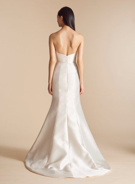 Simple Straight Neckline Silk Fit And Flare Wedding Dress by Allison Webb - Image 2