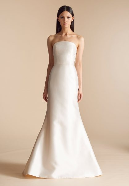 Simple Straight Neckline Silk Fit And Flare Wedding Dress By Allison Webb Image 1
