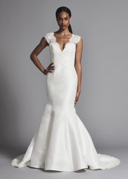 Lace Cap Sleeve Silk Skirt Fit And Flare Wedding Dress | Kleinfeld ...