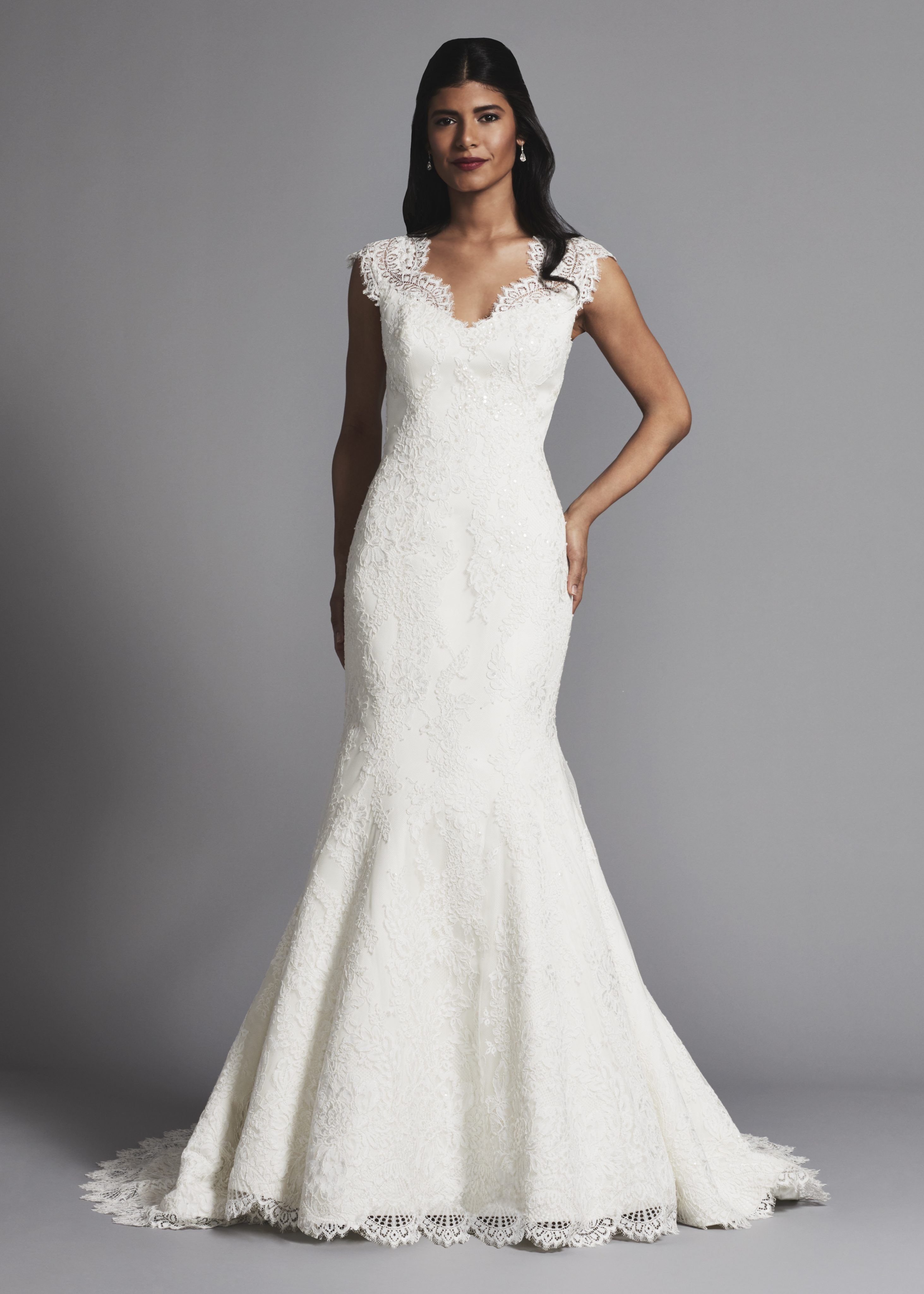 Lace Cap Sleeves Fit And Flare Wedding Dress Kleinfeld Bridal