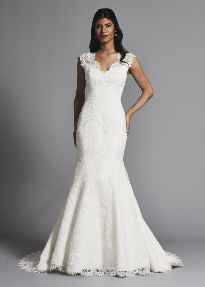 Lace Cap Sleeves Fit And Flare Wedding Dress - Image 1