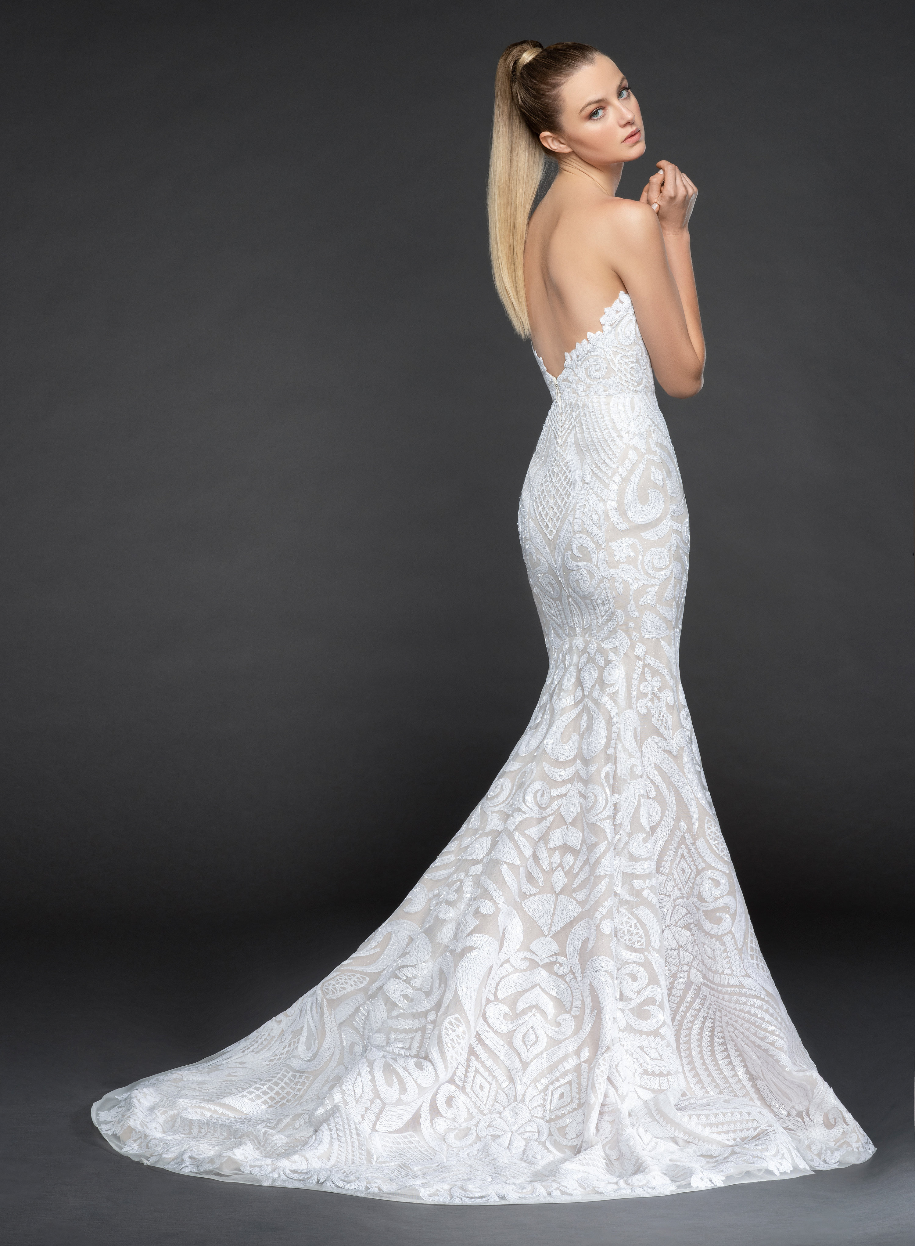 Strapless Beaded Fit And Flare Wedding Dress With Scallop Accent ...