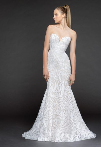 Strapless Beaded Fit And Flare Wedding Dress With Scallop Accent by BLUSH by Hayley Paige