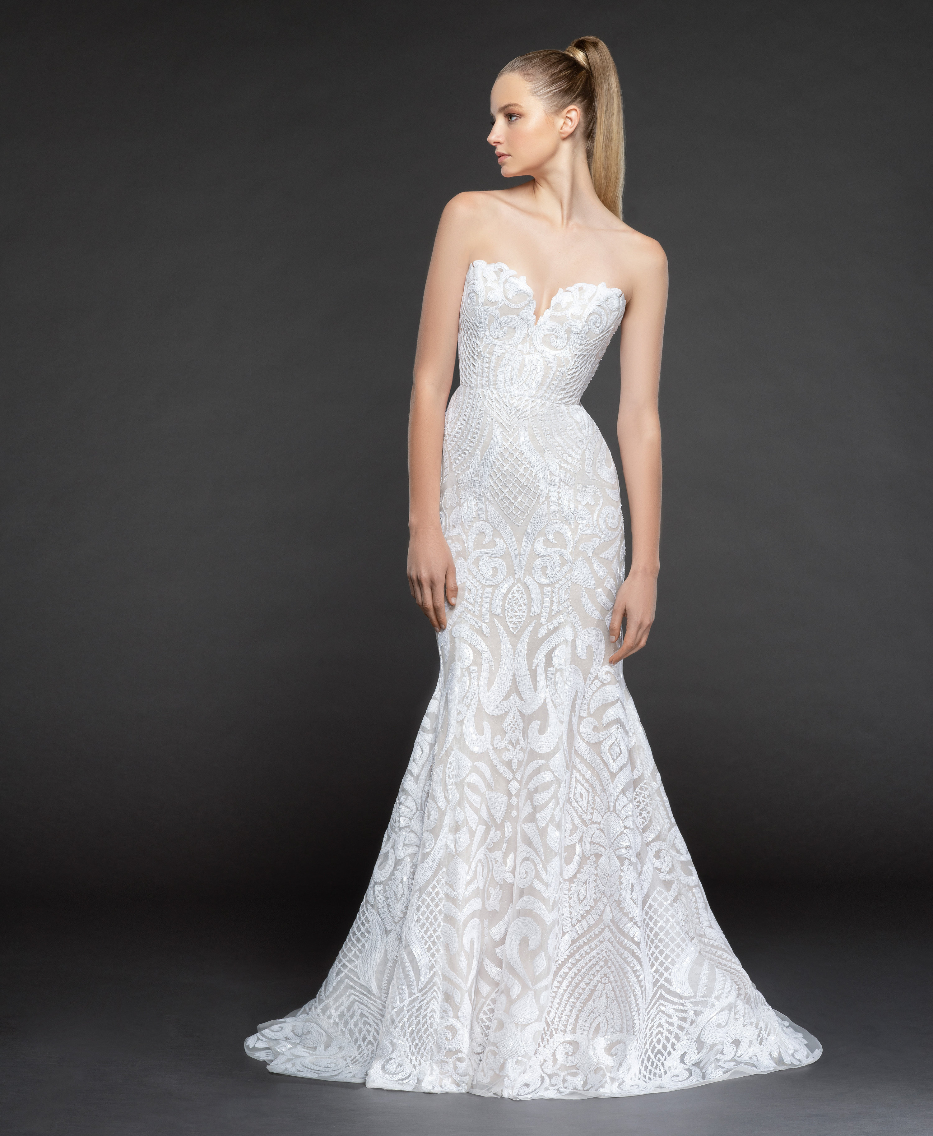 Wedding Gown Stores Nyc: Strapless Beaded Fit And Flare Wedding Dress With Scallop