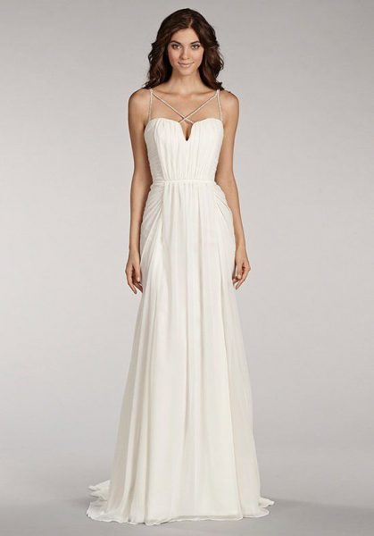 Sweetheart Neckline Sequin Spaghetti Straps A-line Wedding Dress by BLUSH by Hayley Paige - Image 1