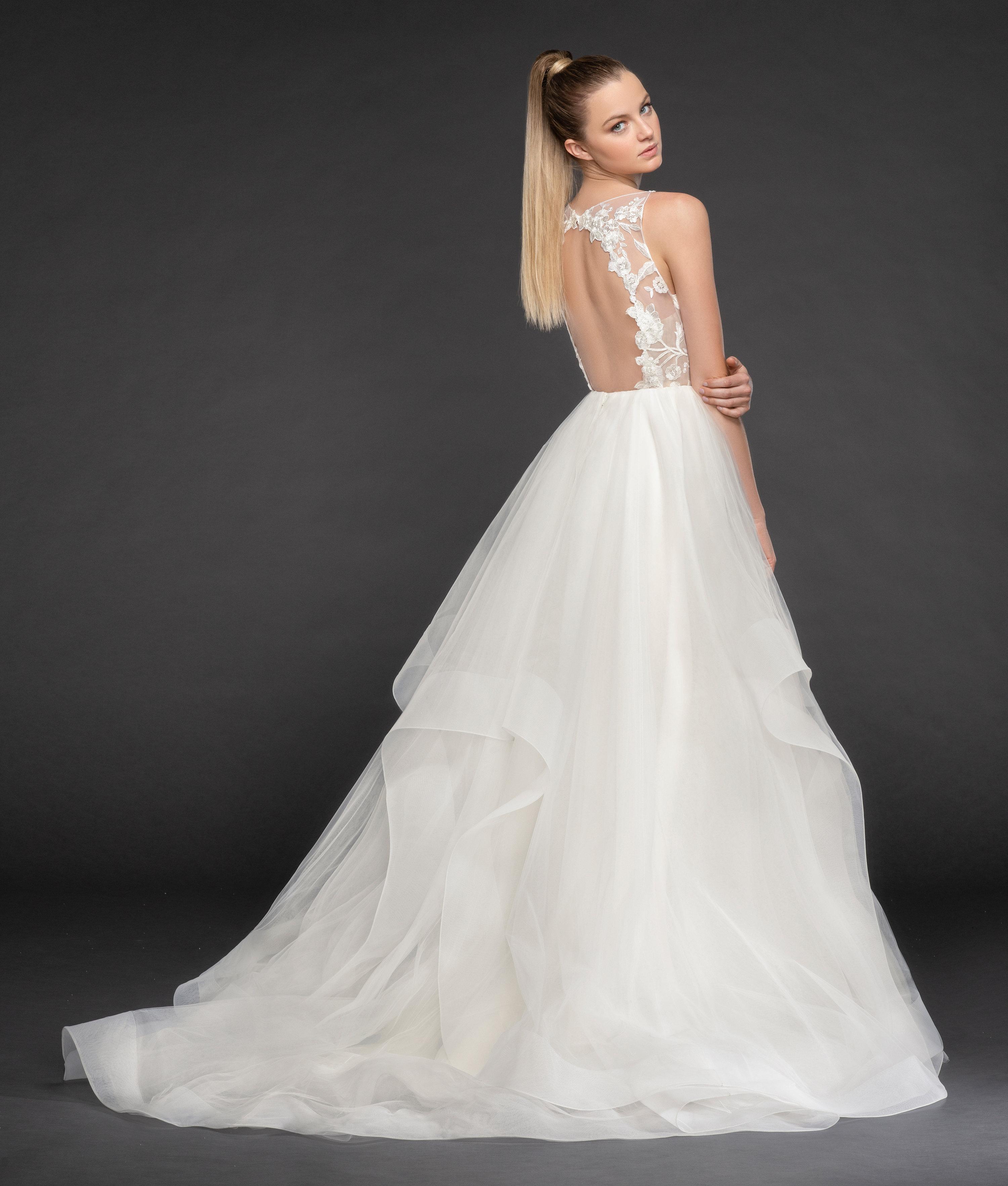 V-Neckline Floral Appliqué Sleeveless Ball Gown Wedding Dress ...