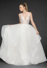 V-Neckline Floral Appliqué Sleeveless Ball Gown Wedding Dress by BLUSH by Hayley Paige - Image 1
