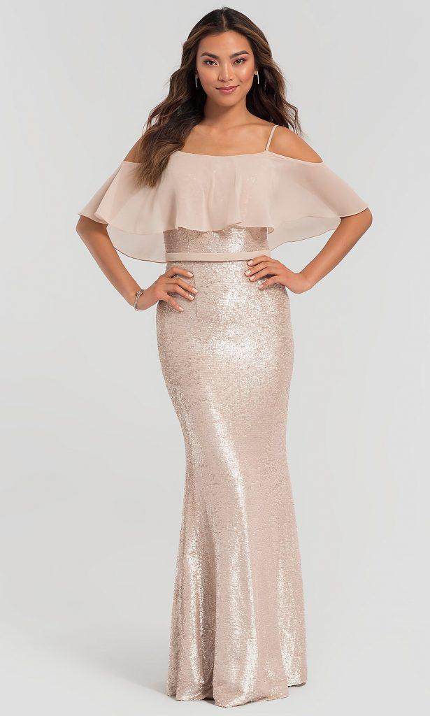 LONG SEQUIN KLEINFELD BRIDESMAID DRESS WITH FLOUNCE Kleinfeld Bridal Party