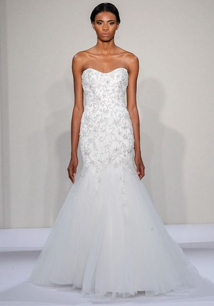 Beaded Sweetheart Strapless Bodice Tulle Skirt Fit And Flare Wedding Dress by Dennis Basso - Image 1