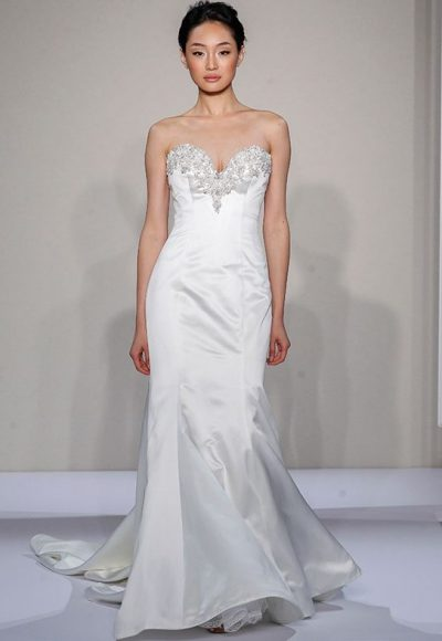 Beaded Sweetheart Strapless Fit And Flare Wedding Dress by Dennis Basso