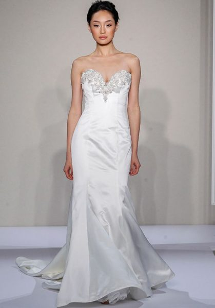 Beaded Sweetheart Strapless Fit And Flare Wedding Dress by Dennis Basso - Image 1