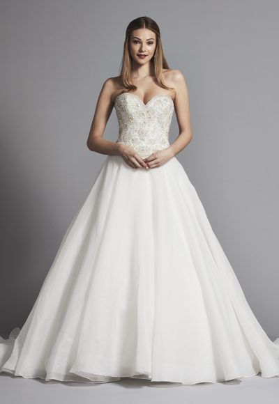 Classic Strapless Sweetheart Ball Gown Wedding Dress With Beading by Dennis Basso