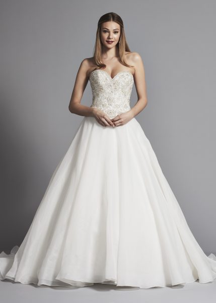 Classic Strapless Sweetheart Ball Gown Wedding Dress With Beading by Dennis Basso - Image 1