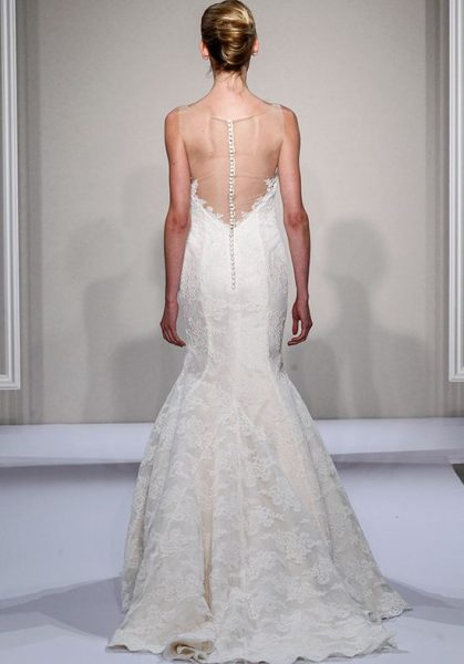 Illusion Sweetheart Neckline Lace Fit And Flare Wedding Dress by Dennis Basso - Image 2