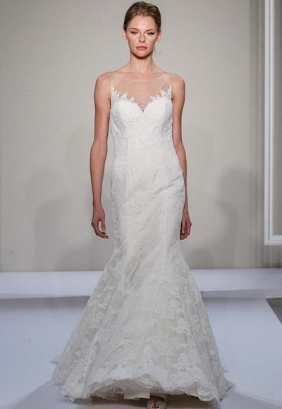 Illusion Sweetheart Neckline Lace Fit And Flare Wedding Dress by Dennis Basso