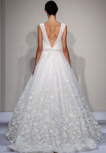 Sleevelss V-neck Ball Gown Wedding Dress by Dennis Basso - Image 2