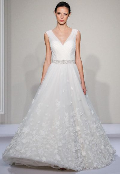 Sleevelss V-neck Ball Gown Wedding Dress by Dennis Basso