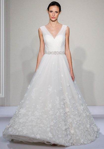 Sleevelss V-neck Ball Gown Wedding Dress by Dennis Basso - Image 1