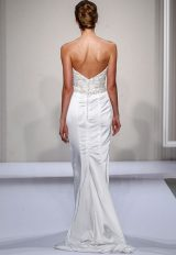Strapless Sweetheart Beaded And Embellished Bodice Satin Sheath Skirt Wedding Dress by Dennis Basso - Image 2
