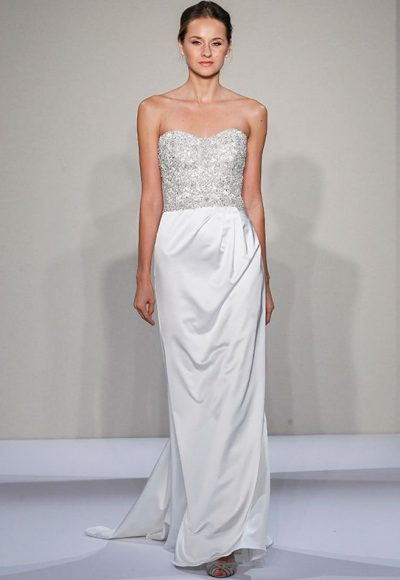 Strapless Sweetheart Beaded And Embellished Bodice Satin Sheath Skirt Wedding Dress by Dennis Basso