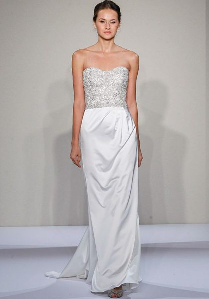 Strapless Sweetheart Beaded And Embellished Bodice Satin Sheath Skirt Wedding Dress by Dennis Basso - Image 1