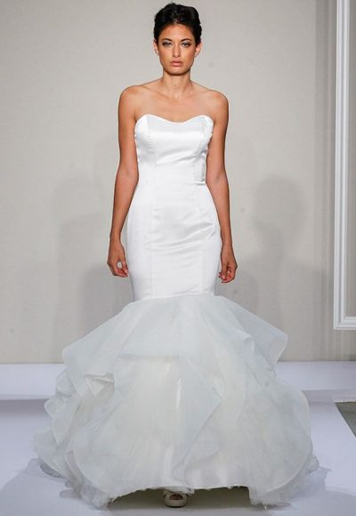 Sweetheart Neckline Full Ruffle Skirt Mermaid Wedding Dress by Dennis Basso