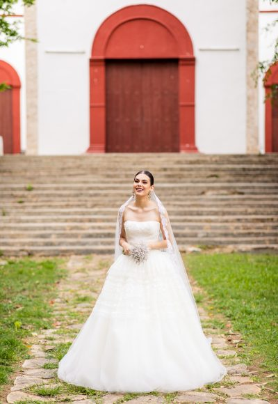 Ball Gown Wedding Dress With Tulle Skirt by Edgardo Bonilla