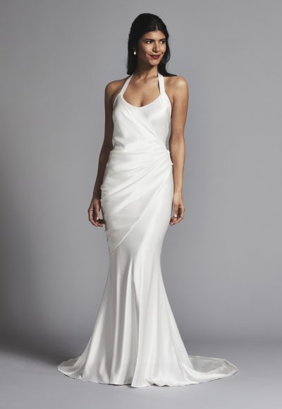 Simple And Chic Silk Halter Scoop Neck Sheath Wedding Dress by Elizabeth Fillmore