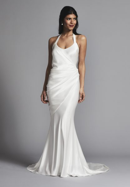 Simple And Chic Silk Halter Scoop Neck Sheath Wedding Dress by Elizabeth Fillmore - Image 1