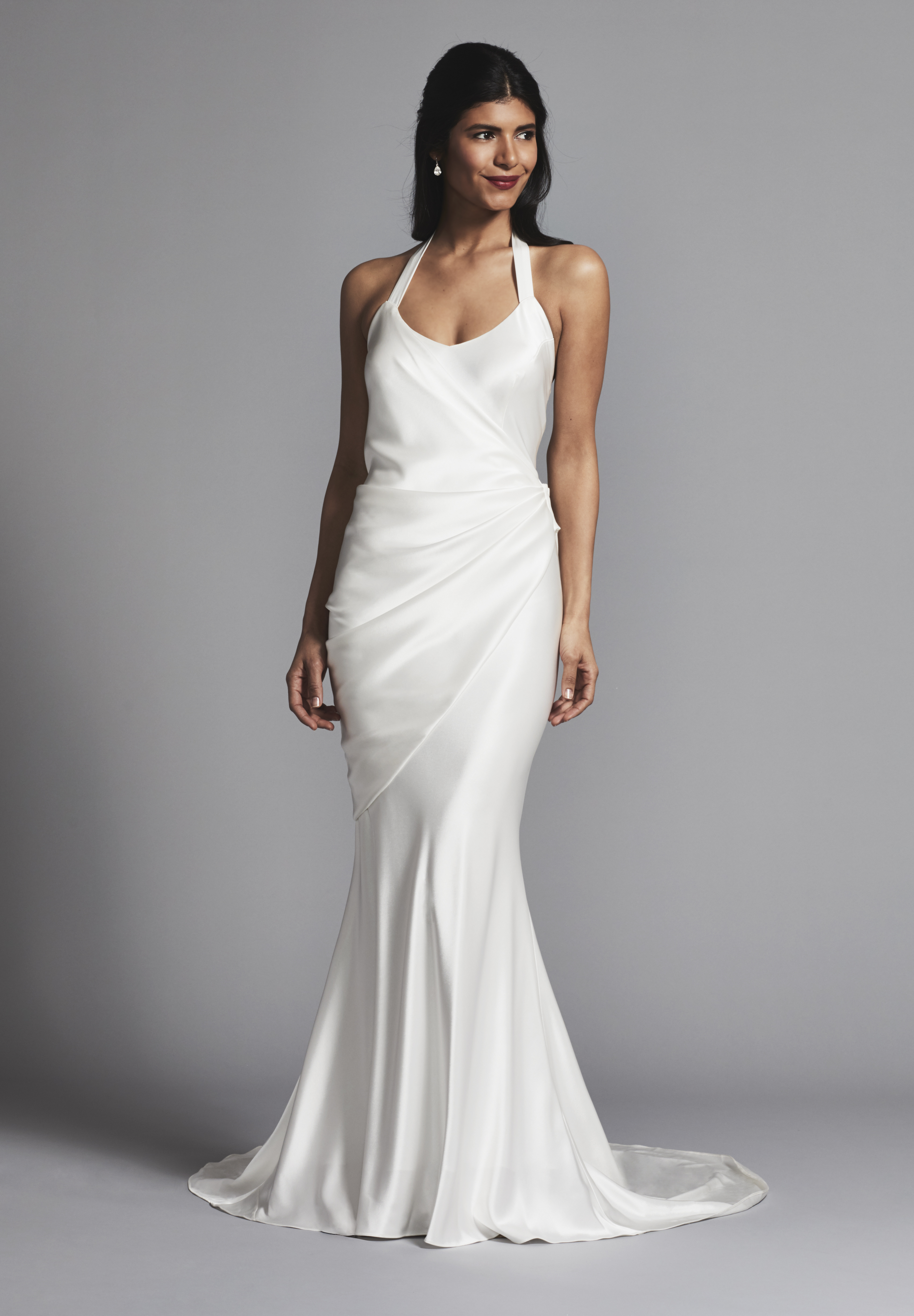 Simple And Chic Silk Halter Scoop Neck Sheath Wedding Dress ...