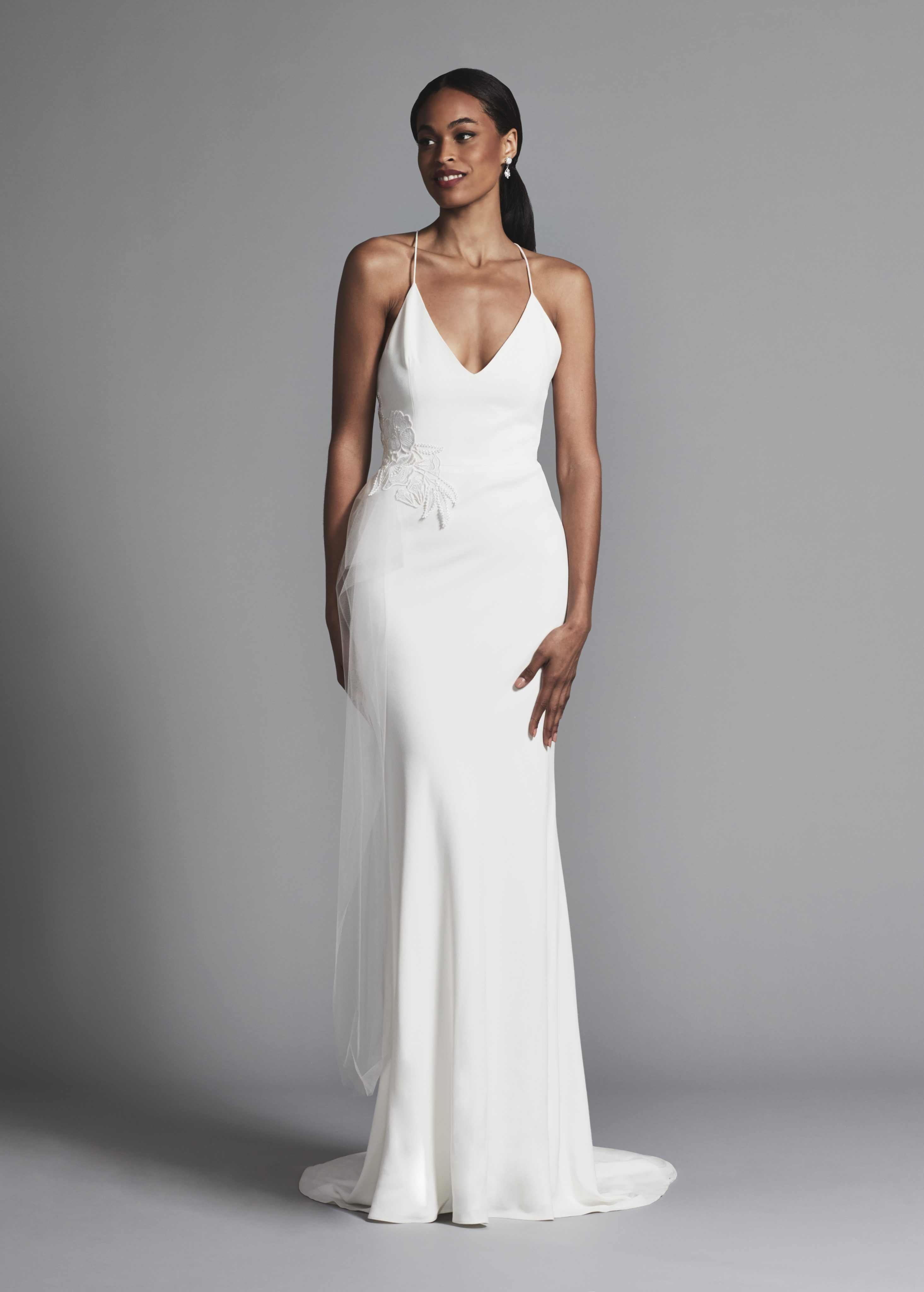 Simple And Chic Spaghetti Strap Crepe Sheath Wedding Dress