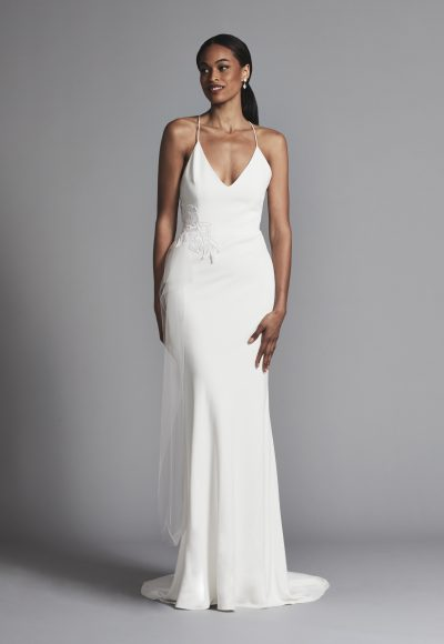 Simple And Chic Spaghetti Strap Crepe Sheath Wedding Dress by Elizabeth Fillmore