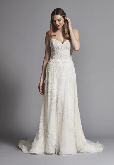 Classic Strapless Sweetheart Beaded A-line Wedding Dress by Enaura Bridal