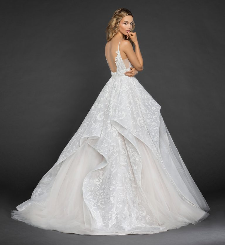 Scalloped Sweetheart Neckline Spaghetti Strap Embroidered Ball Gown by Hayley Paige - Image 2