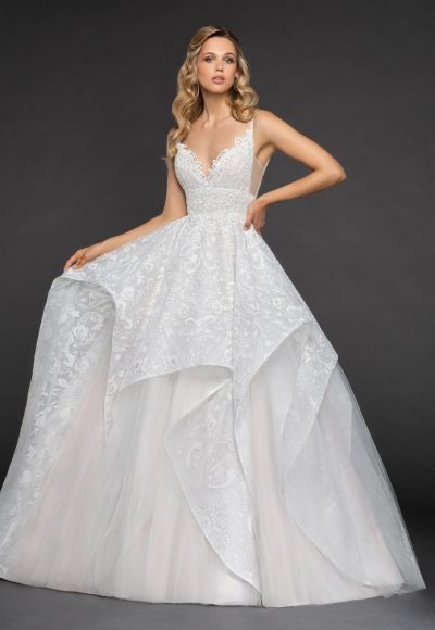 Scalloped Sweetheart Neckline Spaghetti Strap Embroidered Ball Gown by Hayley Paige