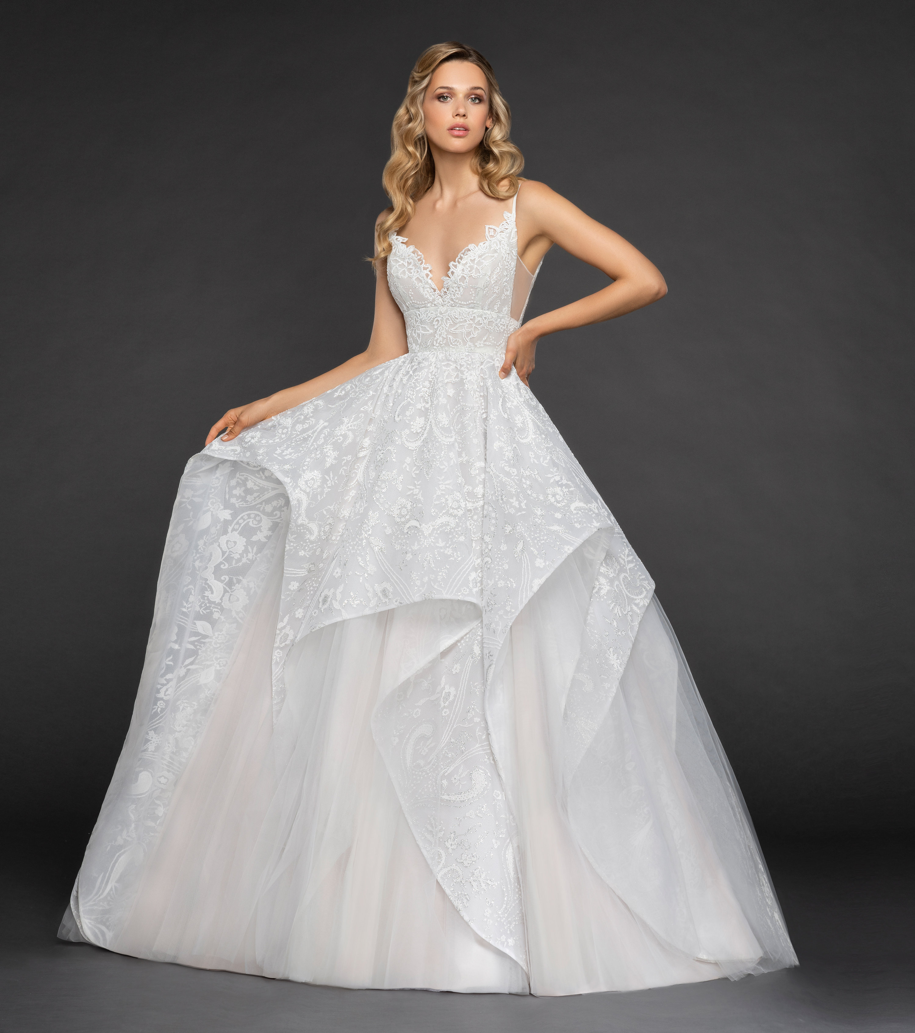 Wedding Ball Gowns With Straps: Scalloped Sweetheart Neckline Spaghetti Strap Embroidered