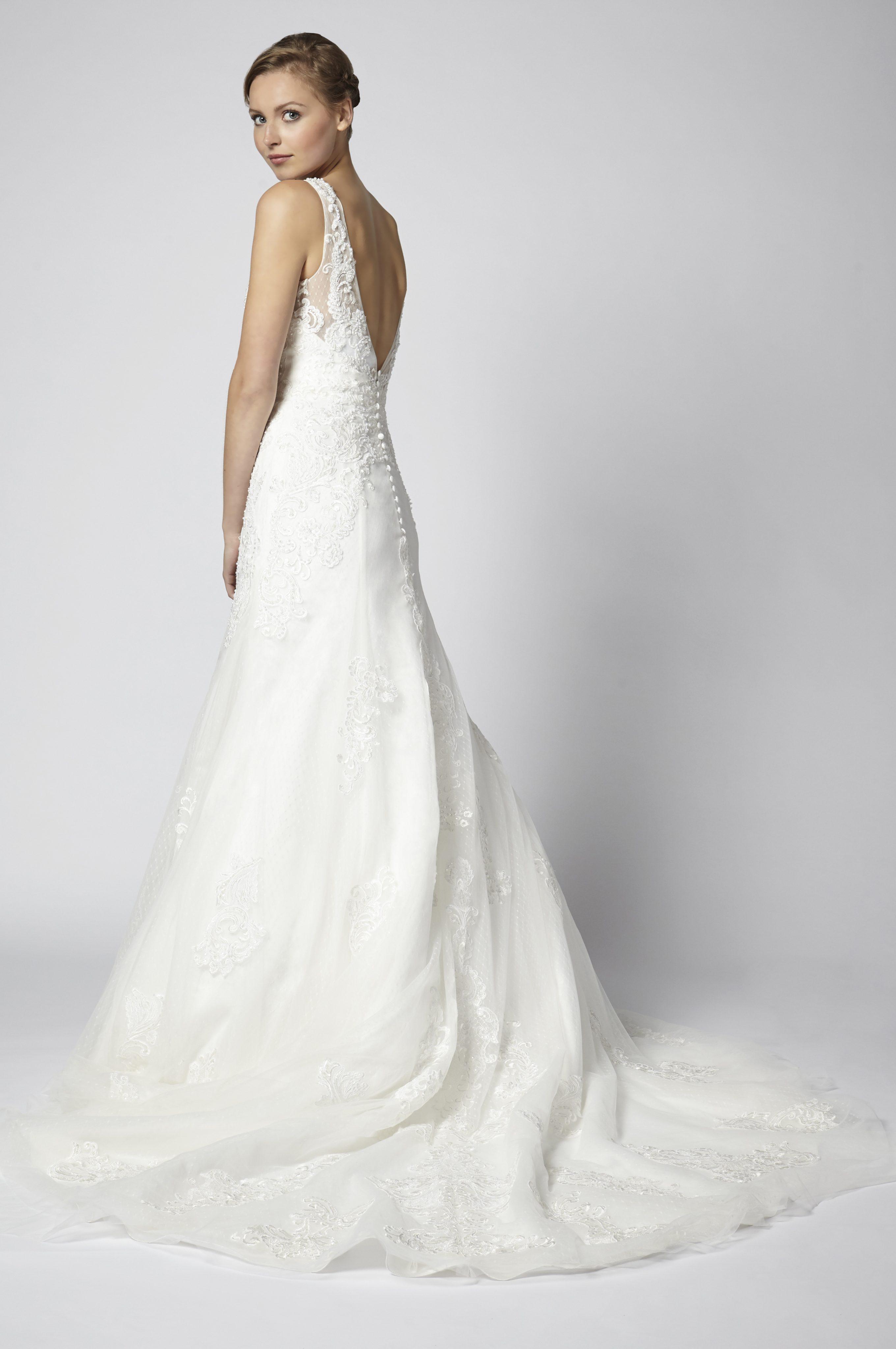 Beaded Lace A-line V-neck Wedding Dress | Kleinfeld Bridal