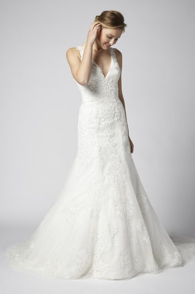 Beaded Lace A-line V-neck Wedding Dress by Henry Roth - Image 1