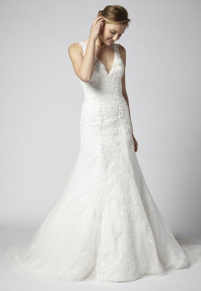 Beaded Lace A-line V-neck Wedding Dress by Henry Roth